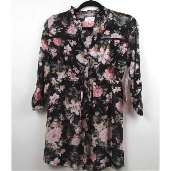 3f309e29b9278 Siren Lily Tops | Maternity Sheer Floral 34 Sleeve Top | Poshmark